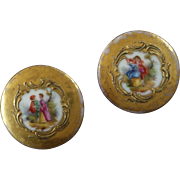 Two Handpainted Porcelain Buttons Gallant Scenes Gold Dots 15/16""
