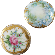 Two Antique Handpainted Porcelain Buttons Roses Forget-me-nots 1 1/16""