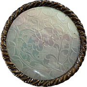 """Antique 19th Century Engraved Mother of Pearl Brass Button 1 5/16"""""""