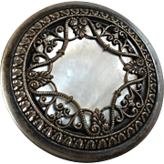 """Large Antique Lacy Metal Mother of Pearl Inlay Button 1 5/8"""""""