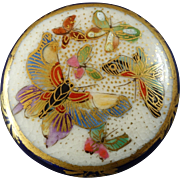 Japanese Satsuma Button Butterflies Cobalt Gold Border 1 3/16""