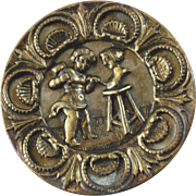 Large Antique 19th Cent. Metal Picture Button Cupid Chiseling Bust of Loved-one 1 7/16""