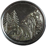 """Large Antique Tinted Black Horn Button Black Forest Scene Metallic Overlay 1 3/4"""""""