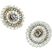 """Two Antique French 18th Cent Mother of Pearl Steel Paste Buttons 1"""""""