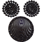 """Three Large Antique Black Glass Buttons 1 5/8"""" Facetted Glass Elements on Metal Imitation Fabric"""