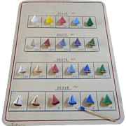 Original Sample Card of Pastel Coloured Glass Buttons Sailing Boats
