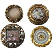 Four Antique Mother of Pearl Metal Buttons 19th Century