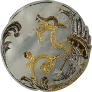 Large Antique French Art Nouveau Mother of Pearl Dragon Button 1 1/16""