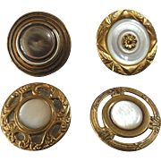 """Four Antique Mother of Pearl Metal Buttons 19th Century 1 1/16"""""""