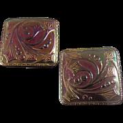 """Two Art Nouveau Czech Glass Buttons Iridescent Luster Box Shank 1 3/16"""""""