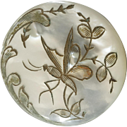 """Antique Engraved Mother of Pearl Button Butterfly 1 1/16"""" France 19th Century"""