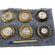 """A Card of Six Antique Victorian Carved Mother of Pearl Metal Buttons 15/16"""""""