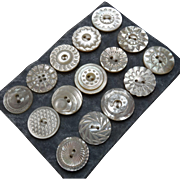"""A Card of 15 Antique Carved Mother of Pearl Buttons 3/4"""""""