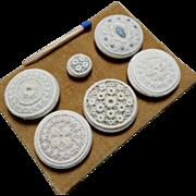 "A Card of 6 Antique Swiss Passementerie Lace Buttons 1 1/16"""