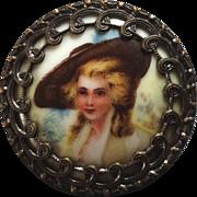 """Large Antique Transfer Print Porcelain Metal Button 1 7/16"""""""