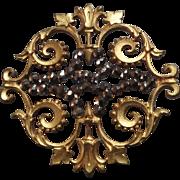 """Large Antique Victorian à-jour Scrollwork Cut Steel Button 1 9/16"""""""