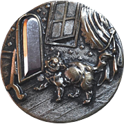 """Large Antique Metal Picture Button Cat and Mirror 1 7/16"""""""
