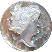 """Antique Victorian Carved Mother of Pearl Button Cameo of Woman's Head 1 1/16"""""""