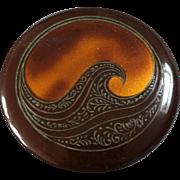"""Large Antique Art Nouveau Celluloid Tight Top Button Stylized Wave 2 1/8"""""""