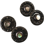 """Four Antique Ornamental Metal Mother of Pearl Mirror Back Buttons 7/8"""""""