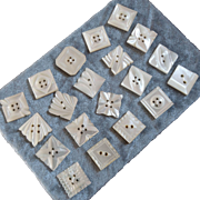 """A Card of 24 Carved Mother of Pearl Buttons 15/16"""""""