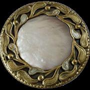 """Large Antique Art Nouveau Mother of Pearl Brass Button 1 1/4"""" Mistle Toe"""