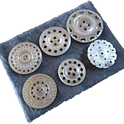 """A Card of Six Antique Victorian Pierced Carved Mother of Pearl Buttons 1 1/4"""""""