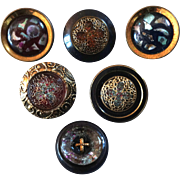 """Six Antique DUG Metal Buttons Gilded Mother of Pearl Inlay 11/16"""""""