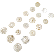 """A Card of 18 Antique Carved Mother of Pearl Buttons 5/8"""""""""""