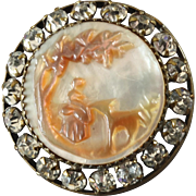 """Antique Victorian Cameo Carved Mother of Pearl Paste Button 1"""" Woman Goat Landscape"""
