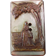 """Antique Victorian Cameo Carved Mother of Pearl Button 15/16"""""""