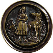 Large Antique Victorian Metal Picture Button Red Riding Hood 1 7/16""