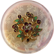"""Antique Victorian Carved Dyed Pink Mother of Pearl Enamel Button 1 1/16"""""""