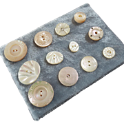 """A Card of 12 Antique Victorian Carved Mother of Pearl Buttons  3/8"""" to 3/4"""""""