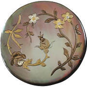 """Large Antique Victorian Engraved Gilded Mother of Pearl Button 1 3/8"""""""