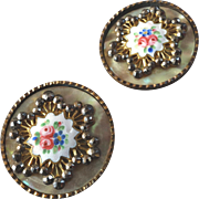 """Two Large Antique Victorian Brass Mother of Pearl Enamel Cut Steel Buttons 1 1/4"""""""