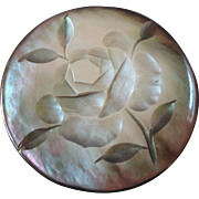 """Large Carved Mother of Pearl Button Rose 1 9/16"""""""