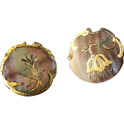 """Two Antique French Art Nouveau Carved and Gilded Mother of Pearl Buttons 7/8"""""""