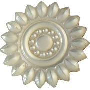 """Large Antique Victorian Carved Mother of Pearl Button 1 1/4"""""""