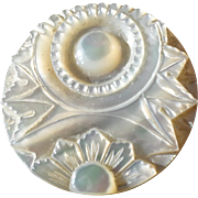 """Large Antique Victorian Carved Mother of Pearl Button 1 9/16"""""""