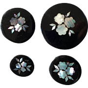 """Four Antique Victorian Paper Maché Mother of Pearl Buttons 1 9/16"""""""