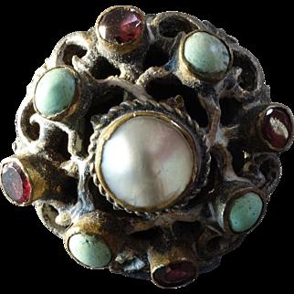 "Antique Austro-Hungarian Magnate's Turquoise Garnet Pearl Button 1""  19th Cent."