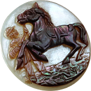 Antique Victorian Cameo Carved Mother of Pearl Button Horse with Rider Groom 1 1/16""