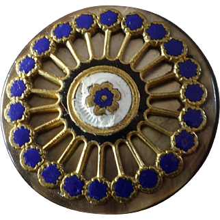 """Large Antique Victorian Enamel Mother of Pearl Button 1 3/16"""""""