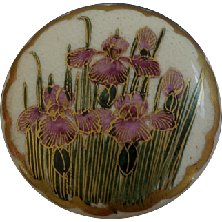 "Large Antique Japanese Satsuma Button Iris 1 1/4"""