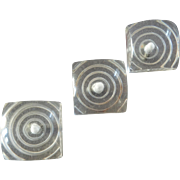 "Three Art Deco Clear Lucite Buttons Concentric Circles 1 1/8"" 1930s"