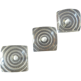 """Three Art Deco Clear Lucite Buttons Concentric Circles 1 1/8"""" 1930s"""