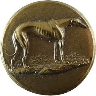 """Antique Victorian Greyhound Whippet Brass Sporting Button 1 1/16"""" Treble Stand'd Extra Rich"""