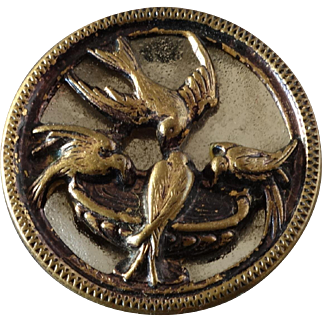 """Antique Victorian Metal Picture Bird Button Mirror Back 4 Swallows at Water Basin 7/8"""""""