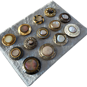 A Card of 13 Antique Victorian Mother of Pearl Metal Buttons 1 1/16""